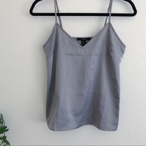 Forever 21 faux satin silver tank
